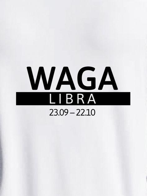 Bluza damska z nadrukiem znaku zodiaku WAGA jasnoszara                              zdj.                              2
