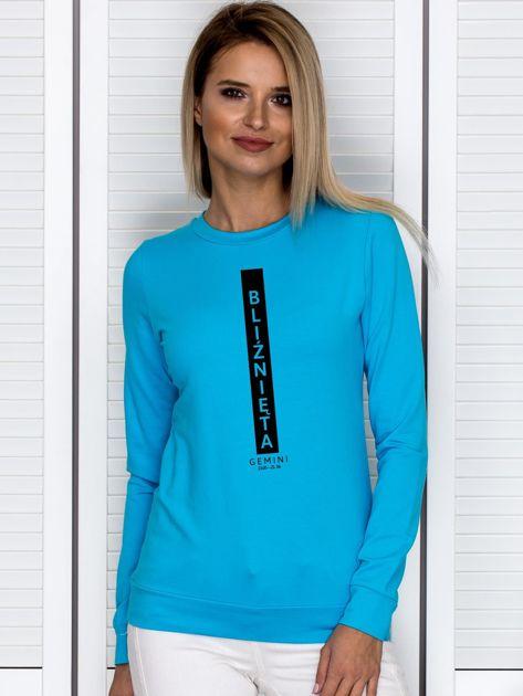 Bluza damska znak zodiaku BLIŹNIĘTA turkusowa                              zdj.                              1