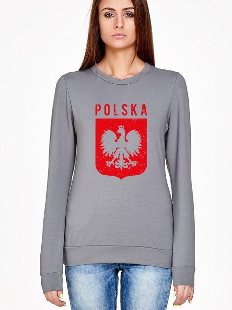 Bluza patriotyczna POLSKA z nadrukiem Orła Białego szara                                  zdj.                                  1