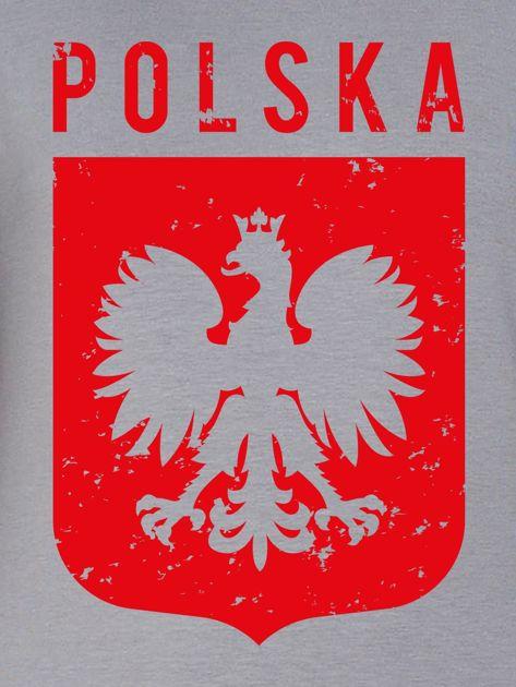 Bluza patriotyczna POLSKA z nadrukiem Orła Białego szara                                  zdj.                                  2