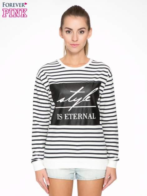 Bluza w ecru-granatowe paski z napisem STYLE IS ETERNAL