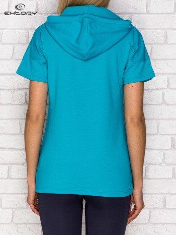 Bluza z krótkim rękawem i kapturem ciemnozielona