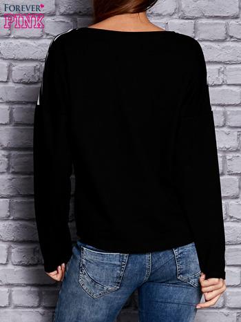Bluza z motywem pasków i napisem czarna                                  zdj.                                  2