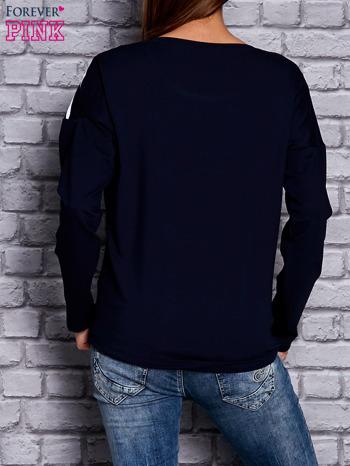Bluza z motywem pasków i napisem granatowa                                  zdj.                                  2