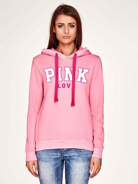 Bluza z nadrukiem i troczkami różowa