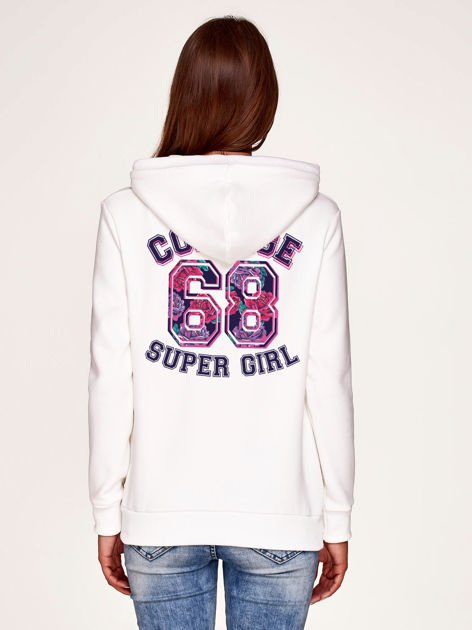 Bluza z napisem COLLEGE SUPER GIRL 68 z tyłu i kapturem biała