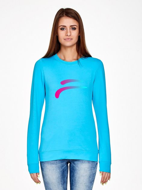 Bluza z tęczowym nadrukiem turkusowa