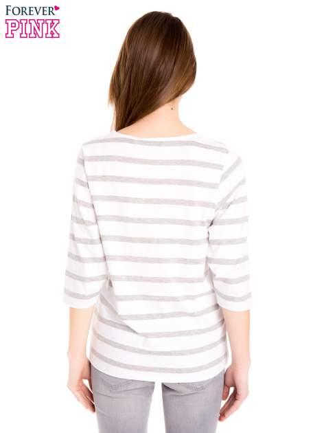 Bluzka basic w biało-szare paski                                  zdj.                                  5