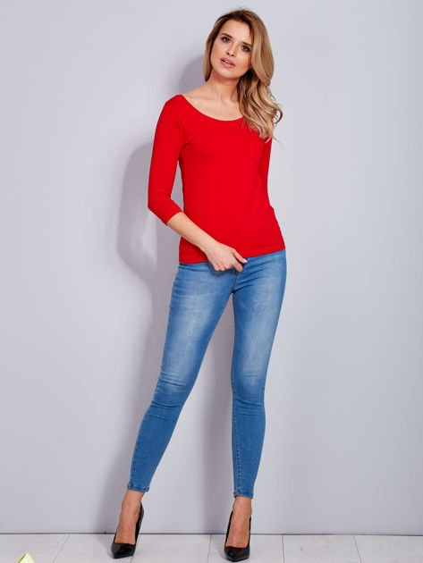 Bluzka czerwona z guzikami i koronką z tyłu                              zdj.                              4