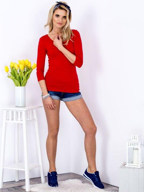 Bluzka czerwona z plecionym dekoltem na plecach                              zdj.                              4