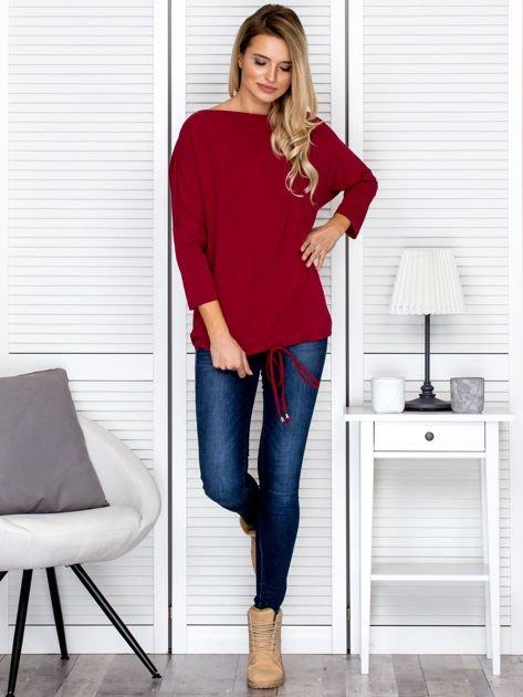 Bluzka damska oversize z kieszenią bordowa                              zdj.                              4