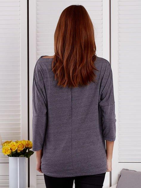 Bluzka damska oversize z kieszenią ciemnoszara                              zdj.                              2