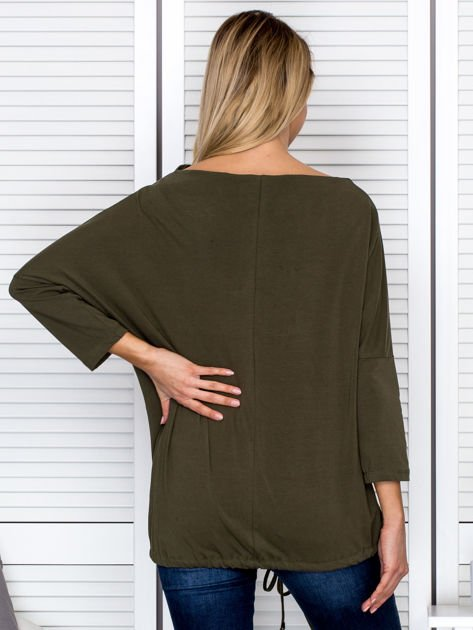 Bluzka damska oversize z kieszenią khaki                              zdj.                              2
