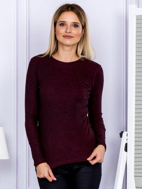Bluzka damska prążkowana z długim rękawem bordowa                              zdj.                              1