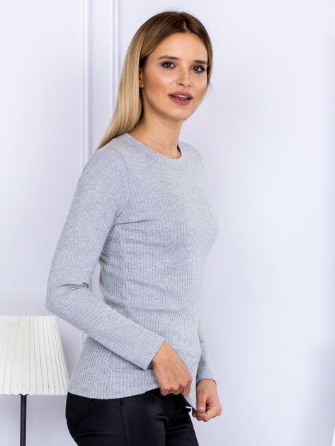 Bluzka damska prążkowana z długim rękawem szara                              zdj.                              5