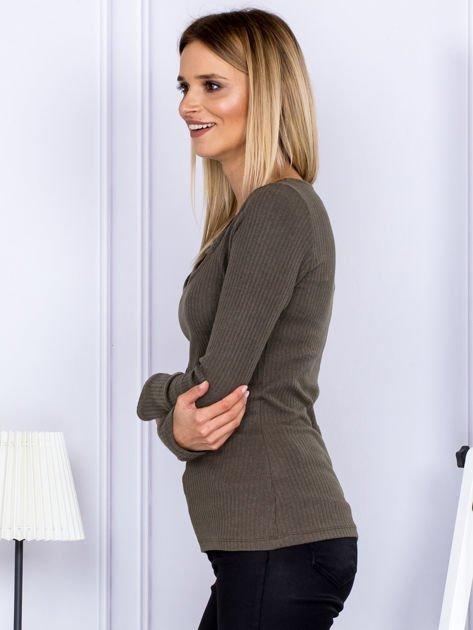 Bluzka damska w prążek z paseczkami przy dekolcie khaki                              zdj.                              5