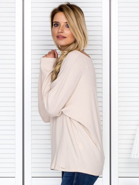 Bluzka damska z kontrastową lamówką jasnobeżowa                              zdj.                              5