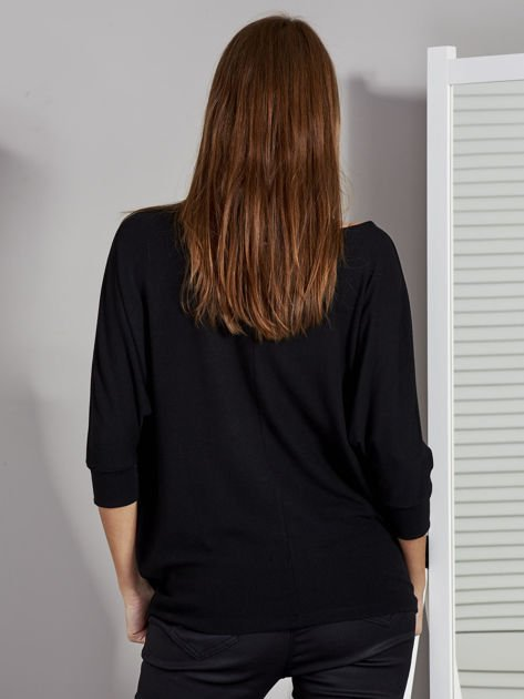 Bluzka damska z rękawem nietoperz czarna                               zdj.                              3