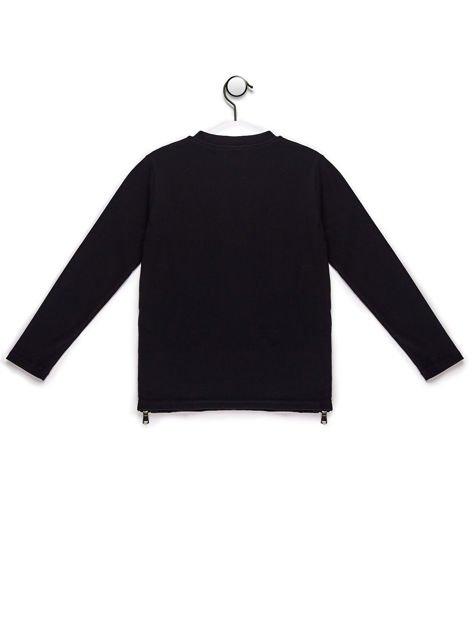 Bluzka dla dziewczynki ze skórzanymi wstawkami czarna