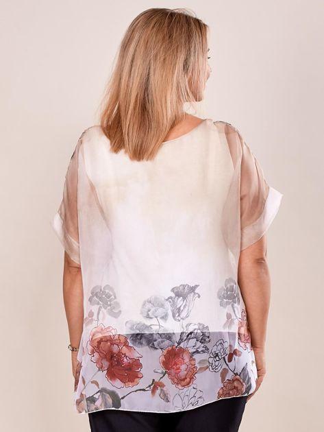 Bluzka koszulowa z napisem CHOOSE HAPPY beżowa PLUS SIZE                              zdj.                              2