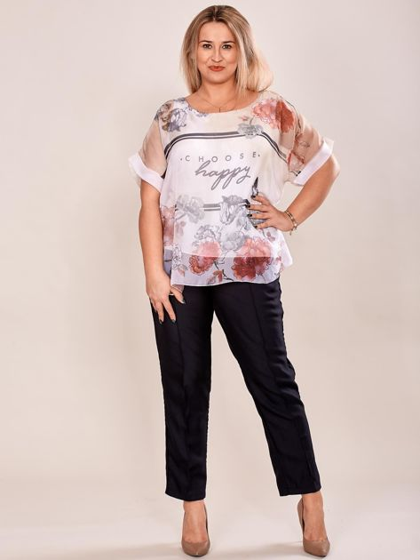 Bluzka koszulowa z napisem CHOOSE HAPPY beżowa PLUS SIZE                              zdj.                              4