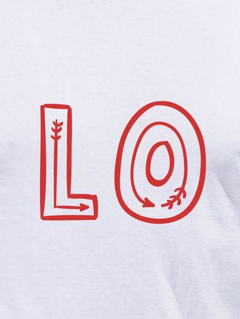 Bluzka męska biała z początkiem napisu LOVE dla par                                  zdj.                                  2