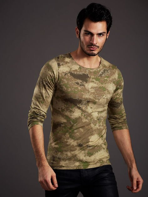 Bluzka męska w malarskie desenie zielona