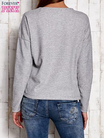 Bluzka oversize z błyszczącą wstawką szara                                  zdj.                                  2