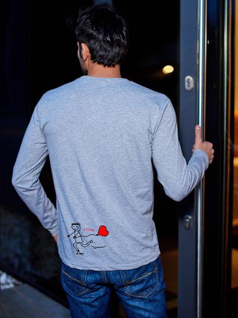 Bluzka szara męska z długim rękawem I LOVE HER dla par                              zdj.                              1