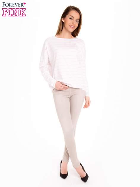 Bluzka w biało-różowe paski z gumką u dołu                                  zdj.                                  2