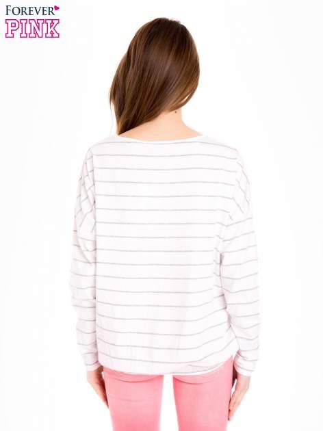 Bluzka w biało-szare paski z gumką u dołu                                  zdj.                                  4