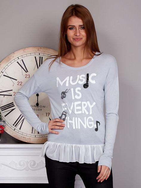 Bluzka z falbanką MUSIC IS EVERYTHING szara                              zdj.                              1