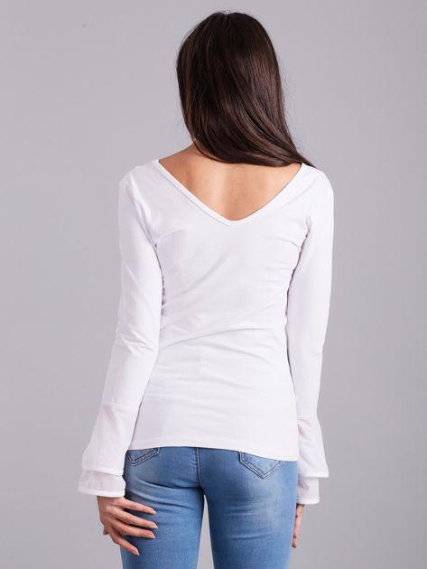Bluzka z ozdobnymi rękawami biała                              zdj.                              2