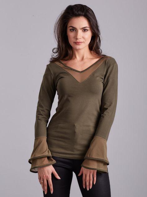 Bluzka z ozdobnymi rękawami khaki                              zdj.                              1