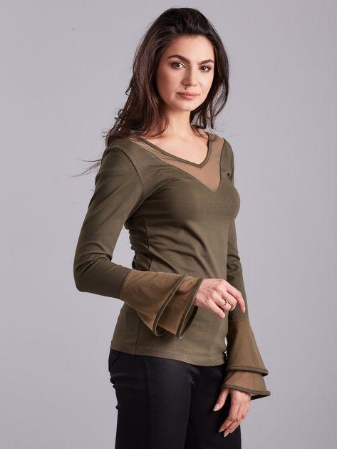 Bluzka z ozdobnymi rękawami khaki                              zdj.                              3