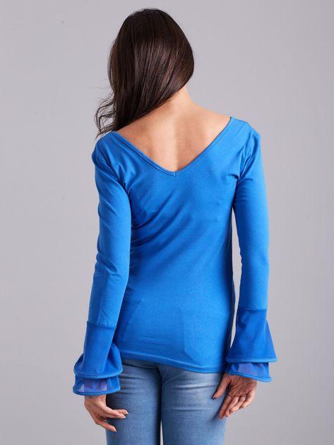 Bluzka z ozdobnymi rękawami niebieska                              zdj.                              2