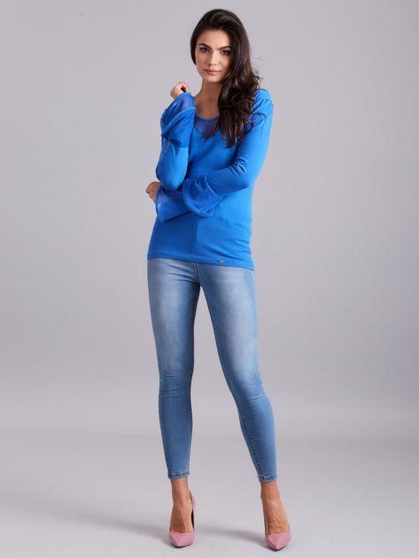 Bluzka z ozdobnymi rękawami niebieska                              zdj.                              4