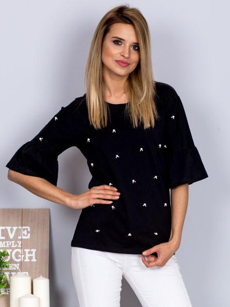 Bluzka z rozszerzanymi rękawami i perełkami czarna                              zdj.                              1