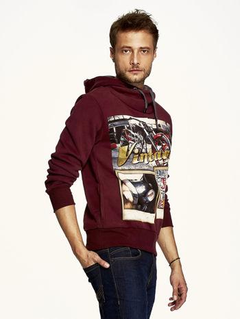 Bordowa bluza męska z kapturem motyw motocyklowy                                  zdj.                                  3