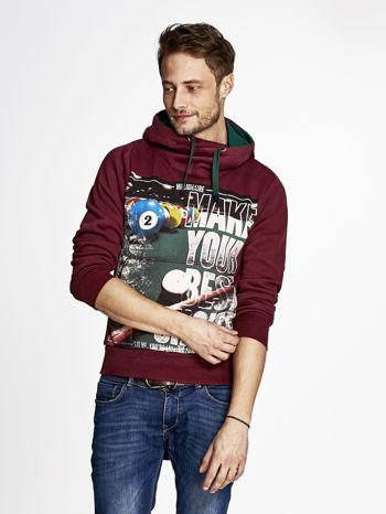 Bordowa bluza męska z napisem MAKE YOUR BEST SHOUT                              zdj.                              1