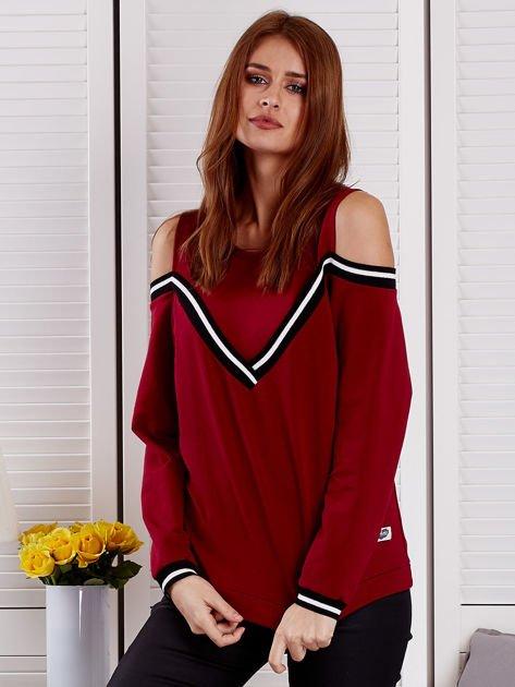 Bordowa bluza z ukośnymi ściągaczami                              zdj.                              1