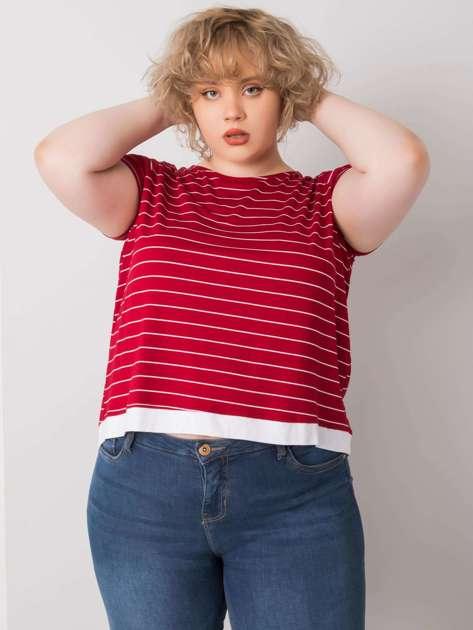 Bordowa bluzka plus size w paski Lilianne