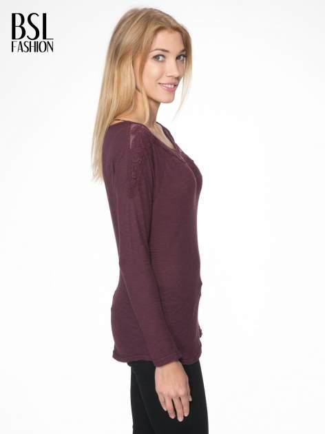 Bordowa bluzka z koronkową górą                                  zdj.                                  3