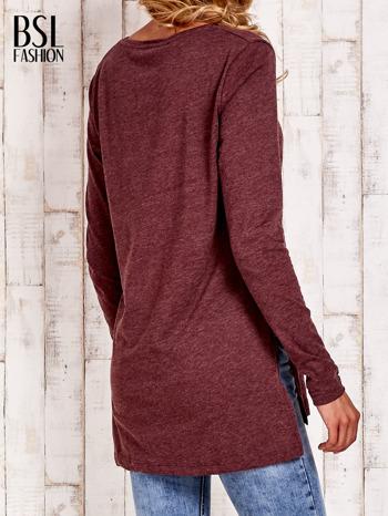 Bordowa bluzka z rozporkami z boku                                  zdj.                                  4