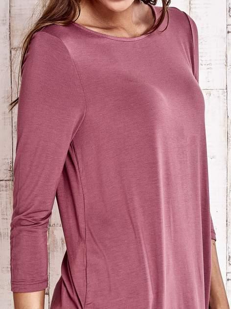 Bordowa bluzka z zapięciem typu łezka na placach                                  zdj.                                  5