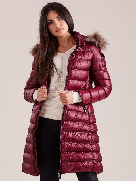 Bordowa damska kurtka zimowa                              zdj.                              5
