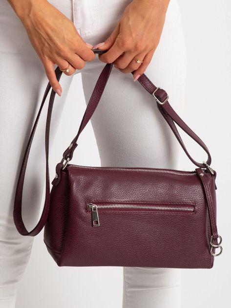 Bordowa damska torebka skórzana                              zdj.                              5