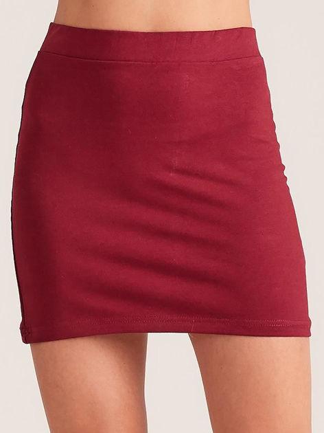 Bordowa dresowa spódnica mini                              zdj.                              1