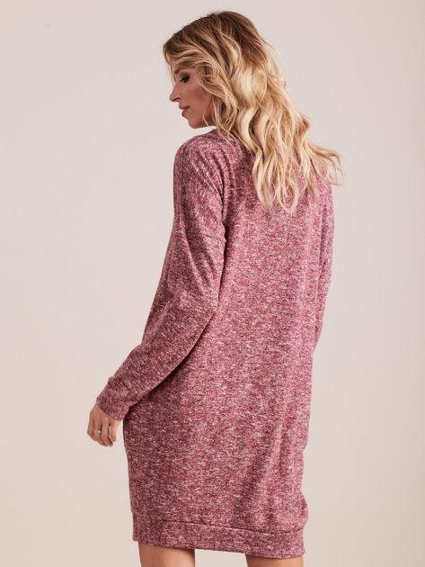 Bordowa dzianinowa sukienka melanżowa oversize                              zdj.                              2
