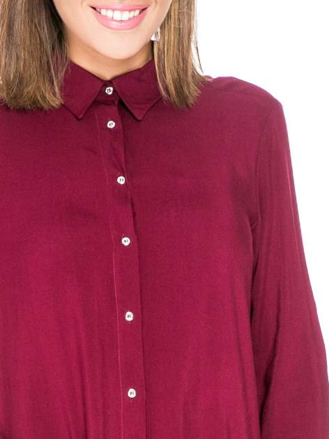 Bordowa koszula damska z zamkiem z tyłu                                  zdj.                                  7